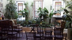 You can't see Arnie but he is playing the piano for a ceremony at the Alger House in NYC.