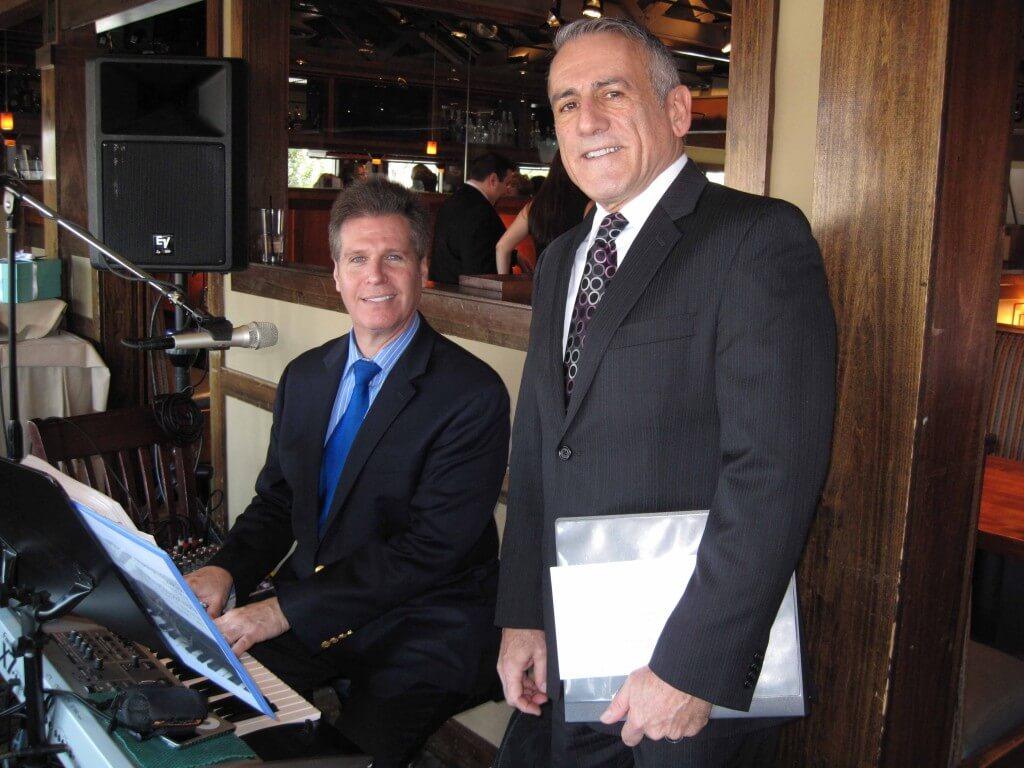 Arnie and famed NJ Officiant Richard Cash doing a wedding in Rumson, NJ
